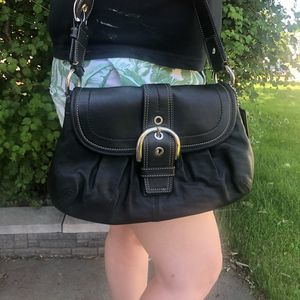 Coach Soho Flap Shoulder Bag With Buckle in Black